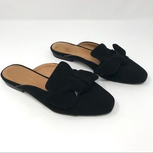 SAKS FIFTH AVENUE Black Suede Bow Flats Slides